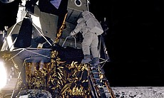 "Alan L. Bean, Lunar Module pilot for the Apollo 12 mission, starts down the ladder of the Lunar Module (LM) ""Intrepid"" to join astronaut Charles Conrad, Jr., mission Commander, on the lunar surface."