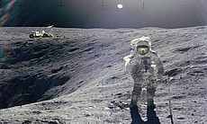 Astronaut Charles M. Duke Jr., Lunar Module pilot of the Apollo 16 mission, is photographed collecting lunar samples at Station no. 1 during the first Apollo 16 extravehicular activity at the Descartes landing site. This picture, looking eastward, was taken by Astronaut John W. Young, commander. Duke is standing at the rim of Plum crater, which is 40 meters in diameter and 10 meters deep. The parked Lunar Roving Vehicle can be seen in the left background.