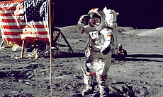 Eugene A. Cernan, Commander, Apollo 17 salutes the flag on the lunar surface ...