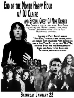"An evening of music inspired by Patti Smith's ""Just Kids"" will take place at the Whistle Stop this Saturday."