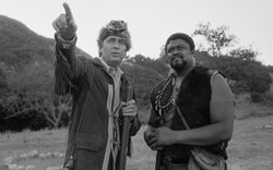 Fess Parker and Rosey Grier on the set of