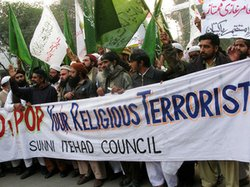 Members of the Association to Protect the Dignity of the Holy Prophet, or Tahafuz-e-Namwoos Risalat, join the Sunni Itehad Council in a protest march to denounce the Pope. The Vatican called for the abolition of Pakistan's blasphemy laws after a Christian woman accused of blaspheming the Prophet Muhammad was sentenced to death.