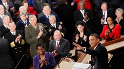 President Obama waves before his first State of the Union address on Jan. 27, 2010