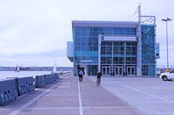 The new terminal building on San Diego's Broadway Pier is part of a $28 milli...