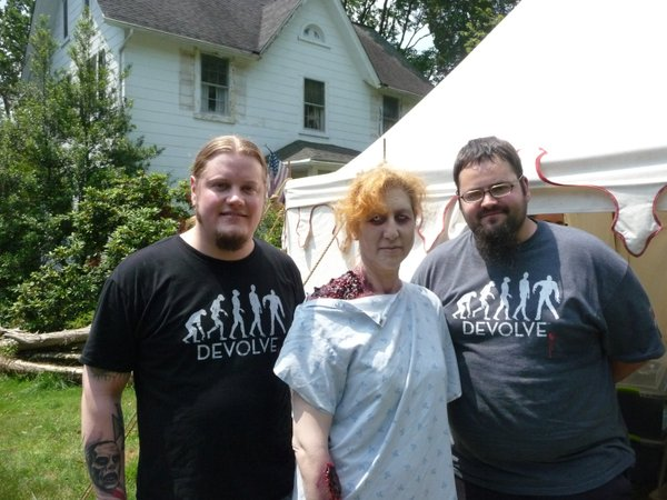 """Donate money to Kevin Perkins' """"My Boring Zombie Apocalypse"""" and you might get to be a zombie. Here I am (center) on one of Perkins' shoots with make up geniuses Mark Wenger and Victor Acord."""