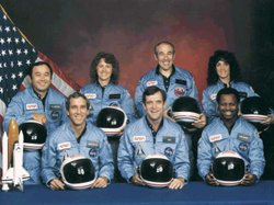 Space Shuttle Challenger crew members (Back, L-R) Mission Specialist Ellison ...
