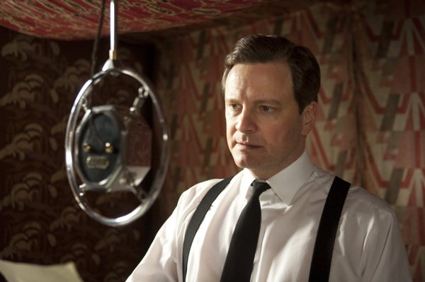 "Colin Firth delivering ""The King's Speech."""