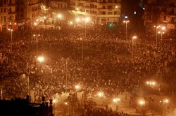 Thousands of protesters gather in Tahrir Square despite a curfew on January 2...