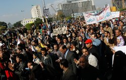 Anti-government protesters continue to congregate in Tahrir Square on the morning of January 31, 2011 in central Cairo, Egypt.