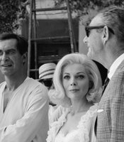 "Martin Landau and Barbara Bain between takes on ""Mission Impossible."""