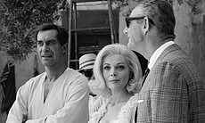 Martin Landau and Barbara Bain between takes on...