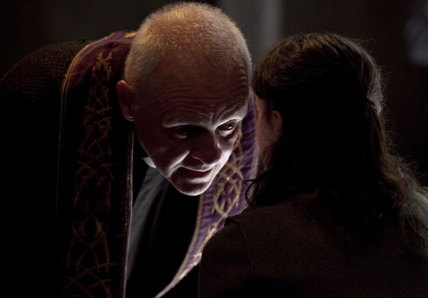 "Anthony Hopkins plays a priest who tries to convince a young colleague that the devil does exist in ""The Rite."""