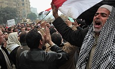 Anti-government demonstrators chant slogans for freedom in Tahrir Square on February 7, 2011 in Cairo, Egypt.