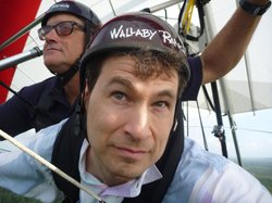 Wallaby Ranch owner Malcolm Jones (left) takes David Pogue (right) for a glide.