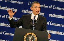 U.S. President Barack Obama speaks at the U.S. Chamber of Commerce on Februar...