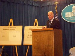 Gov. Jerry Brown held a press conference on Feb. 9, 2011 to announce that he would not continue with Arnold Schwarzenegger's plan to sell state buildings.