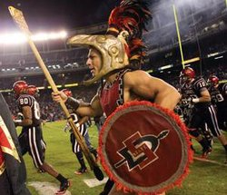The SDSU Aztec Warrior performs during a football game.