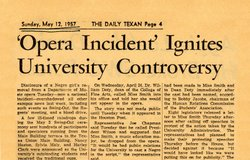 Headline from the University of Texas Daily Texan newspaper, May 12, 1957.