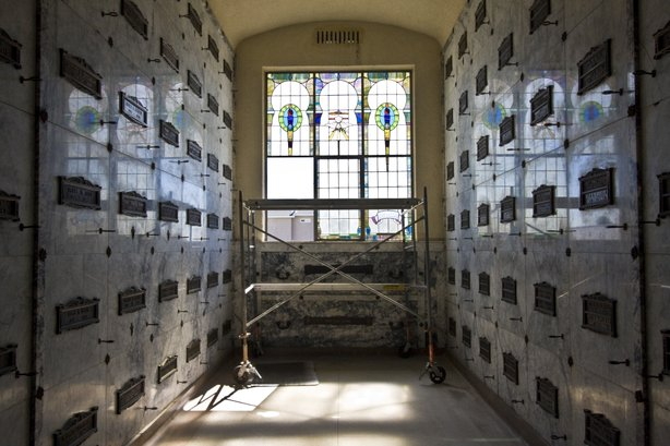 Cypress View has two mausoleums. The older, original building where Cissy's ashes were is under construction.