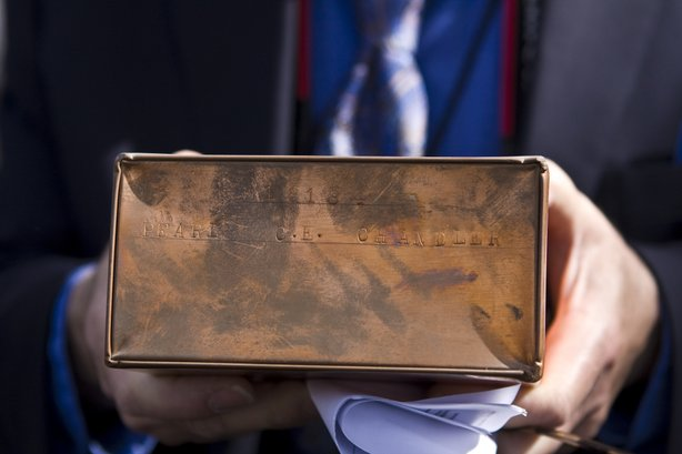 The box holding the ashes of Pearl Chandler, who went by the name Cissy. The box was kept on a storage shelf at the Cypress View Mausleum for 57 years.