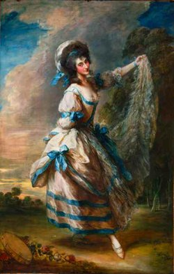 A portrait of of the famous dancer Giovanna Baccelli by Sir Thomas Gainsborough, on view at the San Diego Museum of Art.