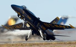 Close up of a Blue Angel landing