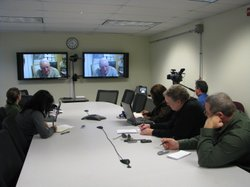Marine Corps General Richard Mills in a Teleconference from Afghanistan with ...