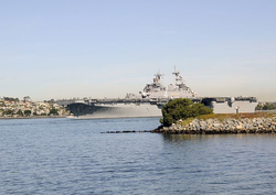SAN DIEGO -- Nov. 4, 2010, the amphibious assault ship USS Boxer pulls out of San Diego Bay for a routine workup period.