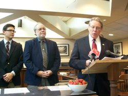 Asm. Bill Monning (D-Carmel) at a news conference Tuesday with other critics of methyl iodide.