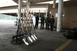 Shovels wait to be used in a ceremonial ground-breaking at the San Ysidro Por...