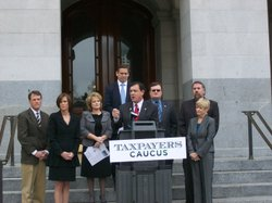 "Photo caption: Asm. Donald Wagner (R-Irvine) speaks at a news conference Wednesday introducing the new ""Taxpayers Caucus."""