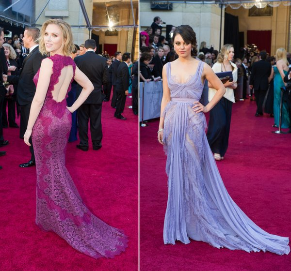 Young but not exactly next generation of actresses Scarlett Johansson and Mila Kunis proved the allure of lace and exposed skin both front and back.