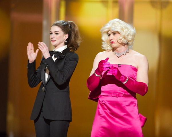 Anne Hathaway in a Dietrich-like tux and James Franco as Marilyn Monroe.