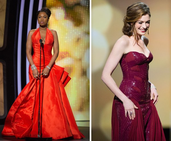 Jennifer Hudson slim and trim but dressed in a pumpkin color. Anne Hathaway in what was a favorite low cut and bare shoulders look.