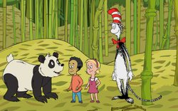 "In ""Bamboozled,"" Sally needs to find a gift for her stuffed Panda, Pammy. Who better to ask than a real Panda? The Cat takes them to meet Zhu Zhu, a giant panda who helps the kids to discover all the wonderful things you can do with bamboo. It's a perfect gift for Pammy the Panda."