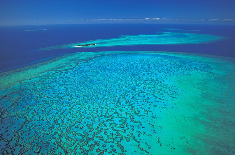 The Great Barrier reef off the northeast coast ...