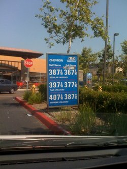 This April 2008 photo shows gas prices at a San Diego area gas station.  Loca...