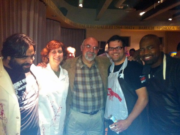 "Reaping the rewards of our geekiness: Miguel Rodriguez, Beth Accomando, director Stuart Gordon, Sanns Dixon, and Phil Lorenzo at ""Re-Animator: The Musical."""