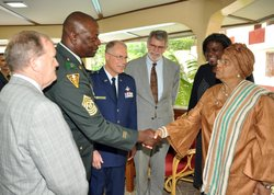 Liberian President Ellen Johnson-Sirleaf greets Michigan National Guard and U.S. Africa Command leadership delegations in Monrovia Oct. 26, 2010.