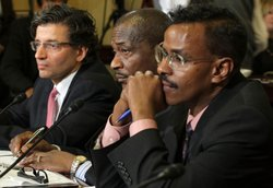 President and Founder of the American Islamic Forum for Democracy (AIFD) Zuhdi Jasser, Melvin Bledsoe of Memphis, Tennessee and Director of the Somali Education and Social Advocacy Center Abdirizak Bihi, testify during a hearing before the House Homeland Security Committee March 10, 2011 on Capitol Hill in Washington, DC.