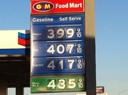 Gas prices in San Diego on March 10, 2011. Prices were about 28 percent highe...