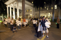 Honolulu, Hawaii, residents evacuate on March 11, 2011 as they prepared for a...