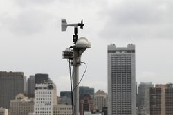 A RadNet radiation monitor is seen on the roof of the Bay Area Air Quality District offices on March 16, 2011 in San Francisco, California.