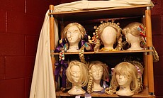 The wigs that will be worn throughout the show.