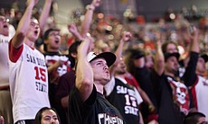 Crowds of enthusiastic fans cheered the Aztecs to victory.