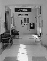 The hallway leading to the emergency department at a San Francisco-area hospital.