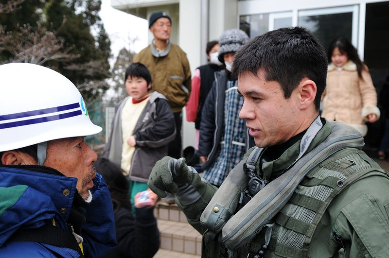 OSHIMA, Japan (March 21, 2011) Lt. j.g. Jaden Risner, assigned to the Black K...