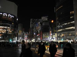 With its massive electronic billboards now dark, Tokyo's Shibuya fashion dist...