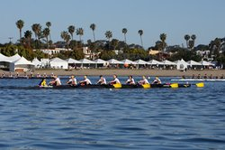 Collegiate and Masters crew teams take to the San Diego Bay in this year's Crew Classic