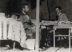 Lincoln and McClellan confer in the generals headquarters tent at Antietam on...